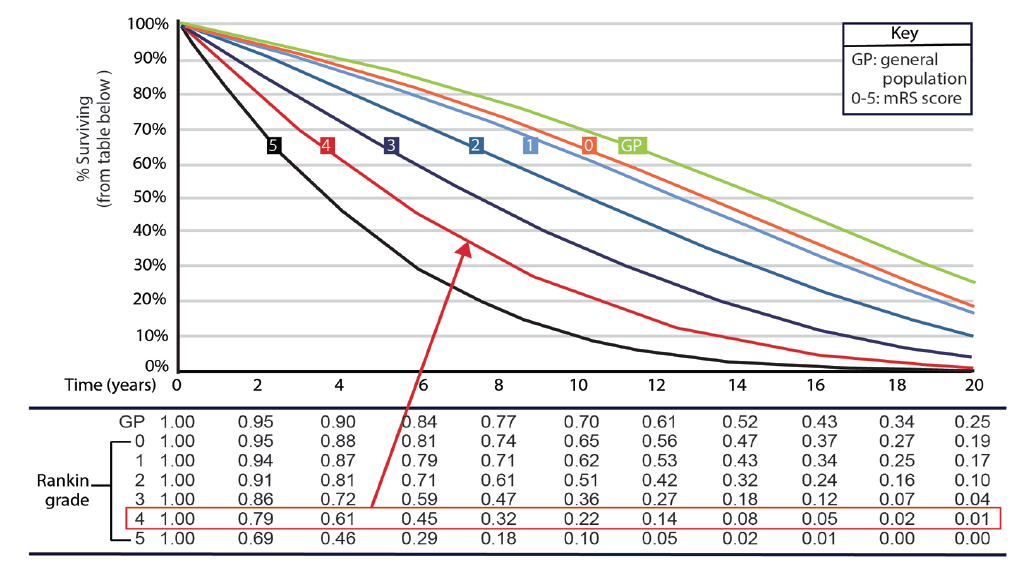 <p>Figure. Survival Curves By Rankin Grade: 70 Year-Old Men</p>