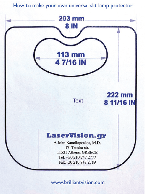 <p>Figure 1. A reduced size image of the template for the disposable slit-lamp shield.</p>