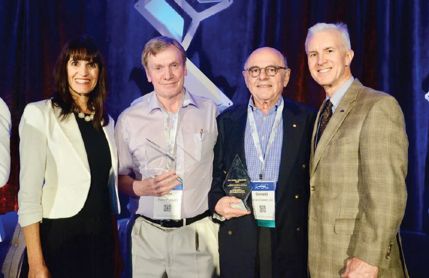<p>ICSC Co-Chairs Melissa Barnett, OD, FAAO, FSLS, FBCLA, and Tom Arnold, OD, FSLS, bookend scleral lens legends Kenneth W. Pullum, BSc, FCOptom, DipCLP, (middle left) and Donald F. Ezekiel, AM, Dip Opt (WA), DCLP, FACLP, FAAO (middle right).</p>
