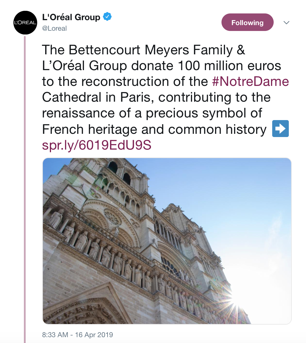L'Oreal To Support Reconstruction of Notre Dame Cathedral image