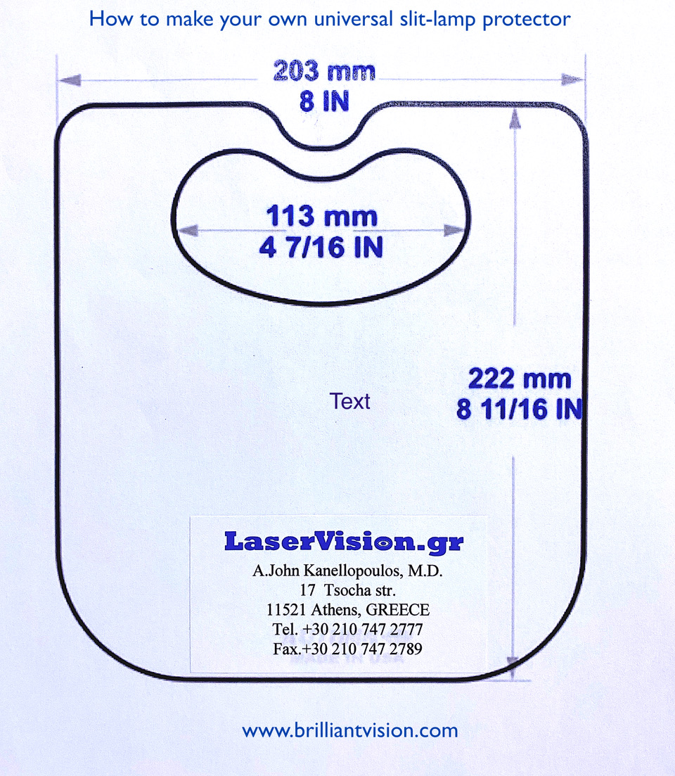 <p>Figure 1. A reduced size of the template for the disposable slit-lamp shield.</p>