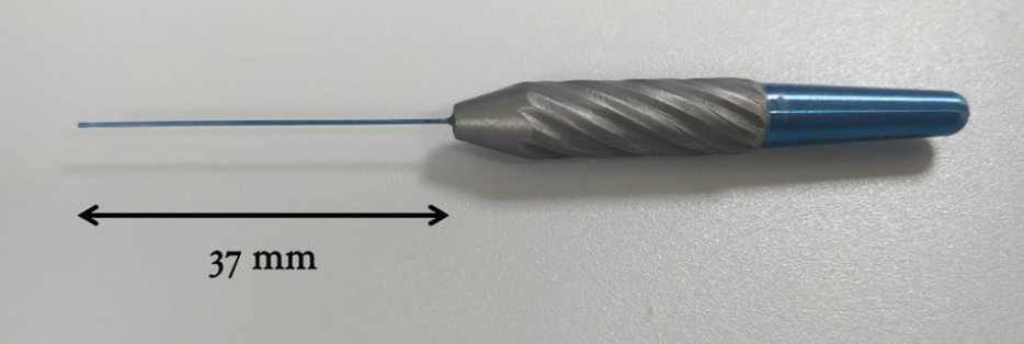 <p>Figure 1. The Retinal Massager (RM) is a 25-gauge titanium instrument with a 37-mm shaft and a handle. The smooth bulbous tip at the end of the shaft is designed to be atraumatic to the retinal surface.</p>
